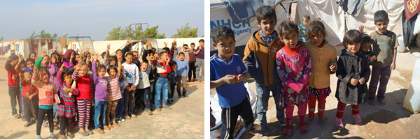 Children congregating during a ReliefAid distribution in Syria