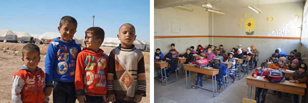 Schoolchildren receiving humanitarian aid during a ReliefAid distribution in Aleppo City, Syria